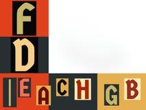 Lettere inglesi differenti in multicolore illustrazione di stock
