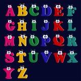 Lettere latine di bello alfabeto allegro multicolore inglese immagini stock