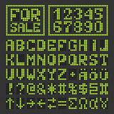 Lettere latine e numeri digitali principali punteggiati della fonte Fotografia Stock Libera da Diritti