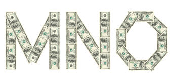 Lettere m., N, O fatta dei dollari Fotografia Stock Libera da Diritti