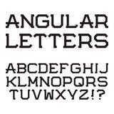 Lettere maiuscole angolari nere Fonte alla moda alph latino Fotografie Stock Libere da Diritti