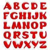 Lettere maiuscole di alfabeto lucido rosso isolate su fondo bianco royalty illustrazione gratis