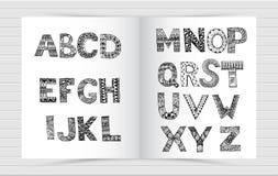 Lettere nere nello stile dello scarabocchiare su uno strato bianco illustrazione vettoriale