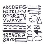 Lettere, numeri, frecce, simboli matematici, linee, scritte in indicatore nero illustrazione vettoriale