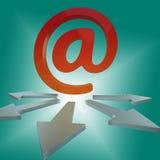 Lettere online di manifestazioni delle frecce del email ai clienti Fotografia Stock Libera da Diritti