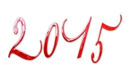 2015, lettere rosse brillanti eleganti del metallo 3D Fotografie Stock Libere da Diritti