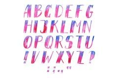 Lettere scritte a mano di alfabeto di ABC di tiraggio della mano dell'acquerello del tipo di carattere variopinto dell'acquerello Immagine Stock Libera da Diritti
