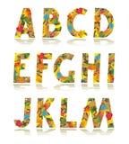 Lettere stabilite A - m. di alfabeto di autunno illustrazione di stock