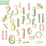 Lettere variopinte blu rosa gialle di alfabeto dell'inchiostro dell'oro verde illustrazione vettoriale