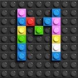Lettere variopinte m. dell'alfabeto dai mattoni di lego della costruzione sul fondo nero del mattone di lego fondo di lego letter Royalty Illustrazione gratis