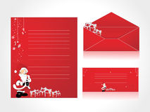 Letterhead and envelope with Santa background Stock Images