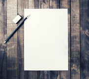 Letterhead, pencil, eraser Royalty Free Stock Images