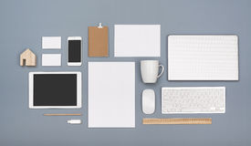Letterhead and responsive design mockup royalty free stock photography
