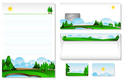 Letterhead With The Theme Of Landscape. Letterheads and envelopes with a landscape theme for corporate /company, you can also include your company logo into the vector illustration