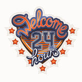 Lettering. Welcome 24 hours athletic style Royalty Free Stock Photo