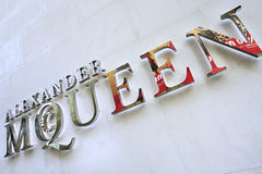 Lettering Alexander McQueen fashion outlet, Beijing, China Royalty Free Stock Photo
