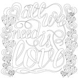 Lettering -all we need is love, design elements for adult coloring book, outline. Stock Images