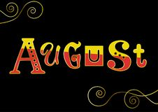 Lettering of August with different letters in yellow and red with golden outlines on black background Stock Photos