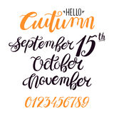 Lettering for autumn months. Beautiful lettering for autumn months. february, january, december. hand-drawn illustration Stock Photo