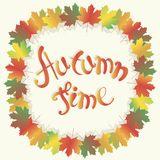 Lettering autumn series. Colorful maple leafs frame on white, Autumn time, vector Stock Image