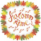 Lettering Autumn time. Colorful maple leafs frame on white, rose fruits, branch with leaves and fruits, vector Royalty Free Stock Photo