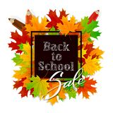 Lettering Back to School on black banner with maple leaves and p. Lettering Back to School and Sale on black banner with maple leaves and pencils, illustration royalty free illustration