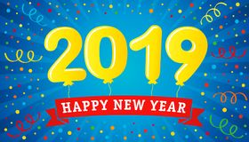 2019 lettering balloons on colorful confetti and ribbon Happy New Year greeting card. Happy New Year 2019 design with yellow balloons on blue background. Vector stock illustration