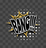 Lettering Bang Gold sparkle comic text Stock Images