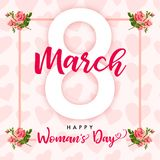 8 March Happy Womens day rose flower and hearts greeting card. Lettering banner for the International Women`s Day with text 8 March and hearts in frame vector illustration
