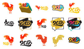 Lettering 2017 banner. Lettering 2017 With Red Fire Cock for print and poster, banner and sticker. Happy new year greeting card. Vector Royalty Free Stock Image