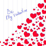 Lettering Be My Valentine with hearts. Stock Images