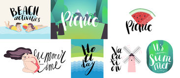Lettering on beach, picnic, vacation and summer Royalty Free Stock Images