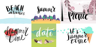 Lettering on beach, picnic, vacation and summer Royalty Free Stock Image
