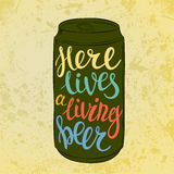 Lettering on beer or beverage steel can Stock Images