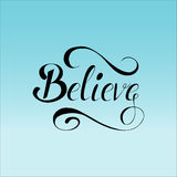 Lettering believe on mesh background. Abstract colorful background made in  with lettering. Smooth gradient Stock Photography