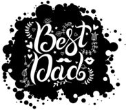 Lettering best dad on black spot background royalty free illustration
