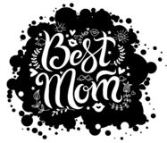 Lettering best mom on black background spot vector illustration