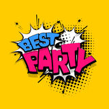 Lettering best party comics book balloon Royalty Free Stock Images