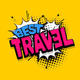 Lettering best travel vacation comics book balloon Royalty Free Stock Photography