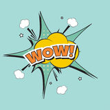 Lettering Boom, bomb. Lettering wow, bomb explosion. Vector illustration with halftone dot, star burst funny dialog balloon. Pop art style. Color comics book Royalty Free Stock Images