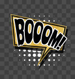 Lettering Boom Gold sparkle comic text Royalty Free Stock Photography