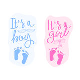Lettering it is a boy and it is a girl. Vector greeting card for baby shower. Baby shower party design element. Royalty Free Stock Photo