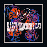 Lettering with branches, flowers and quote - happy teachers day. Cartoon style. Illustration Royalty Free Stock Photos
