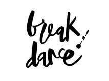 Lettering Break dance black stock illustration