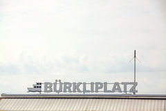 Lettering of Burkliplatz with ship logo at lake Zurich Stock Photos