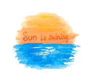 Lettering calligraphic phrase SUN IS SHINING, sun Royalty Free Stock Images