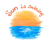 Lettering calligraphic phrase SUN IS SHINING, sun Royalty Free Stock Photos