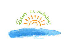 Lettering calligraphic phrase SUN IS SHINING, sun Royalty Free Stock Photography