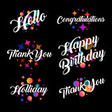 Lettering in a calligraphic style with the inscriptions Thank you. Hello, Congratulations, Happy birthday, Holiday. Blurred defocus colorful balls and stars Royalty Free Stock Photos