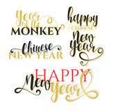 Lettering calligraphy set. Happy Chinese New Year. Monkey year Royalty Free Stock Photography